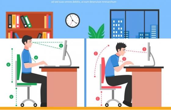 卡通办公室人员用电脑正确和错误坐姿对比图图片免抠素材