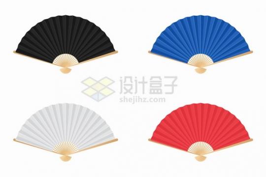 黑色蓝色白色红色扇子纸折扇png图片素材