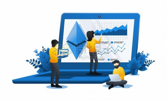 蓝色扁平插画风格三个商务人士在笔记本电脑上查看数据png图片免抠矢量素材
