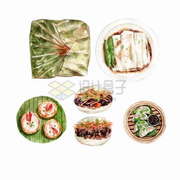 糯米鸡肠粉虾饺叉烧包烧麦等粤式早茶美味早餐点心早点美食水彩插画png图片素材