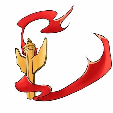 手绘风格华表和红旗国庆节png免抠图片