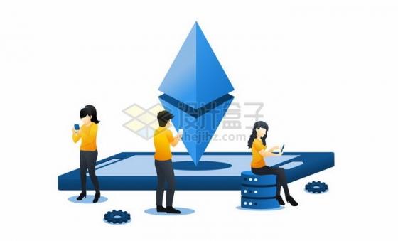 蓝色扁平插画风格三个商务人士在手机上查看数据png图片免抠矢量素材