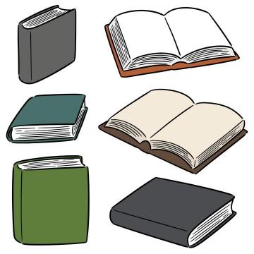 6款手绘风格的简笔画书本图片免抠素材