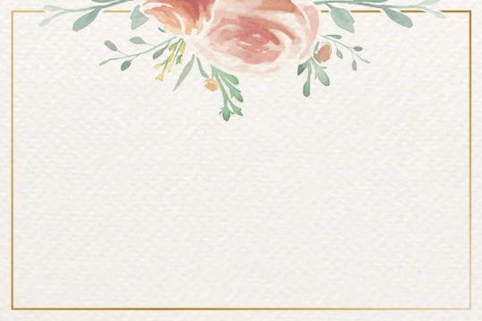 水彩画风格红色花朵绿叶装饰的长方形边框文本框图片免抠素材