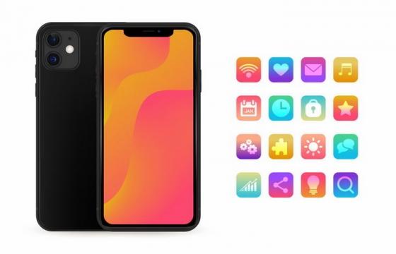 黑色苹果iPhone 11智能手机正反面和APP图标png图片免抠eps矢量素材