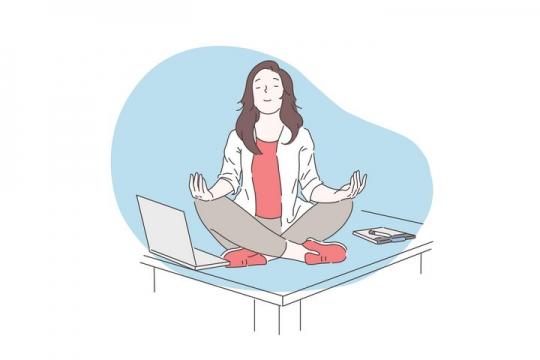 手绘彩色上色线条漫画风格在办公桌上打坐的员工图片免抠素材
