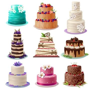 9款逼真的多层生日蛋糕结婚蛋糕图片免抠素材