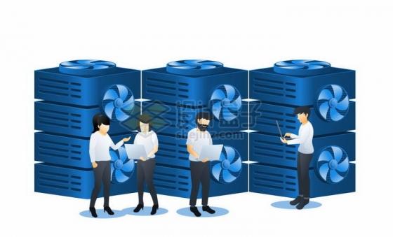 蓝色扁平插画风格在云计算中心查看数据png图片免抠矢量素材