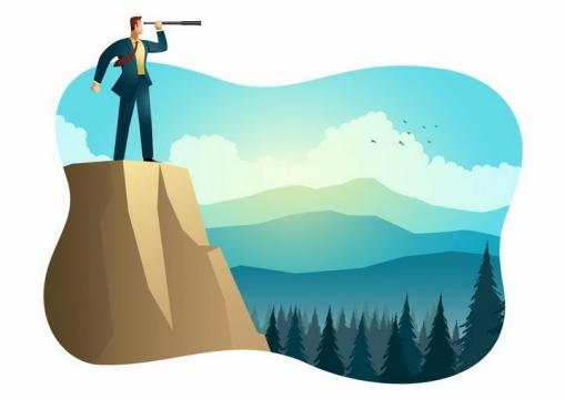 扁平插画风格站在山顶用望远镜观察远方的商务人士png图片免抠素材