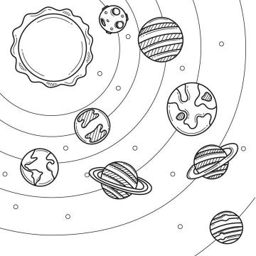 简约手绘线条风格卡通太阳系八大行星天文科普图片免抠素材