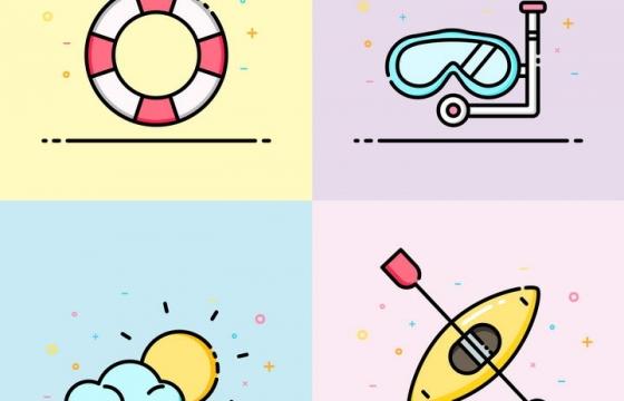 四款MBE风格救生圈潜水镜划船等热带旅游元素图标图片免抠素材