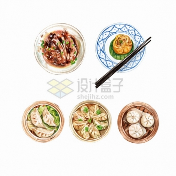 豉汁蒸排骨蒸饺包子叉烧包等粤式早茶美味早餐点心早点美食水彩插画png图片素材