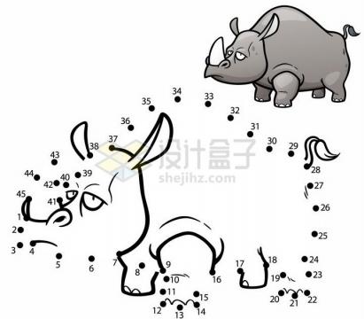 儿童绘画游戏画一个犀牛png图片免抠素材