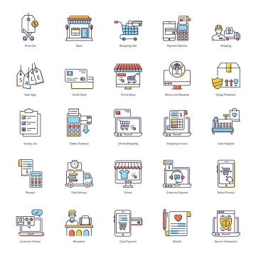 25款线条风格网络购物消费行业icon图标图片免抠矢量素材