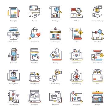 25款线条风格网络购物消费类icon图标图片免抠矢量素材