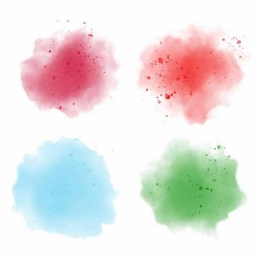 4种泼墨水彩效果底色背景色png图片免抠eps矢量素材