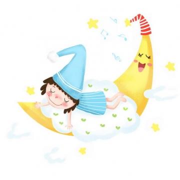 卡通女孩趴在弯弯的月亮上睡觉晚安588770png图片素材