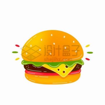 卡通风格美味的汉堡包png图片免抠矢量素材