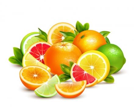 一堆橘子柠檬橙子等水果切盘图片免抠素材