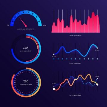 渐变色炫丽速度表曲线图等PPT数据图表png图片免抠eps矢量素材