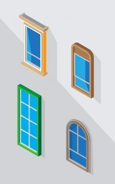 四款2.5D风格的蓝色玻璃窗户图片免抠素材