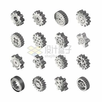 16款3D立体金属齿轮png图片素材