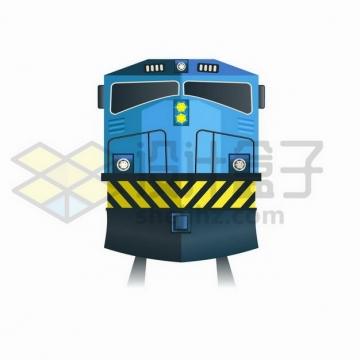 蓝色的火车头列车png图片免抠矢量素材