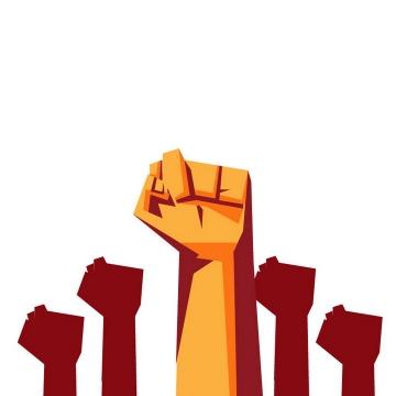 漫画风格高举的拳头象征了力量和奋发图强的精神图片免抠矢量素材