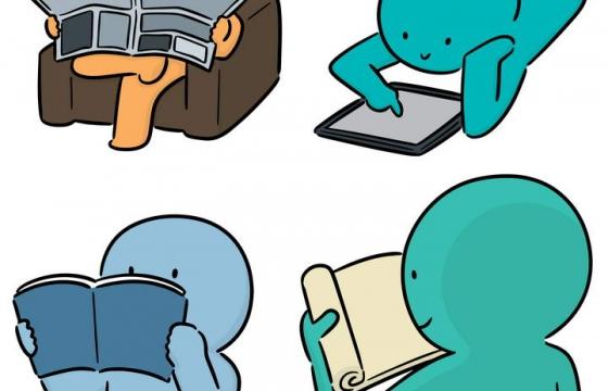 4款正在读书看报的卡通小人儿图片免抠素材