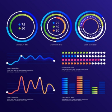 渐变色炫丽环形比例图曲线图等PPT数据图表png图片免抠eps矢量素材