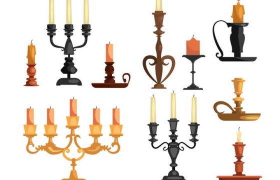 10款欧式风格的蜡烛台图片免抠素材