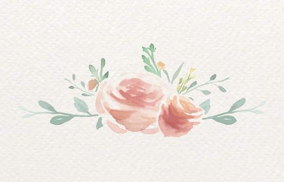 手绘水彩画风格红色花卉和绿叶装饰图片免抠素材