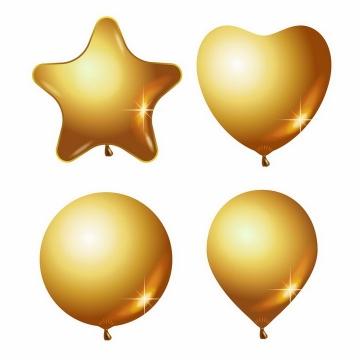 五角星心形和圆形金色气球png图片免抠矢量素材