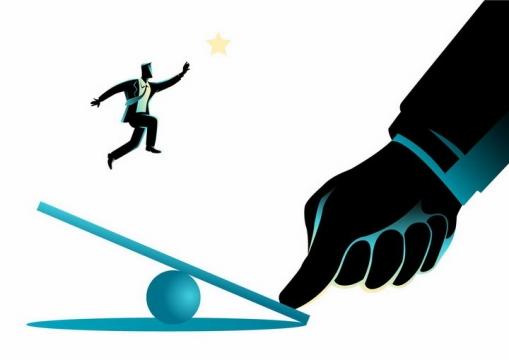 黑色插画风格通过跳板跳起来摘星星的商务人士png图片免抠素材