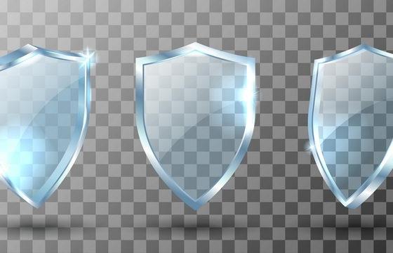 盾牌形状的淡蓝色半透明玻璃板图片免抠素材