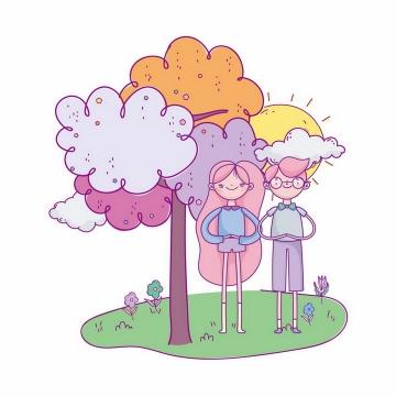 手绘插画草地大树下的情侣情人节png图片免抠素材