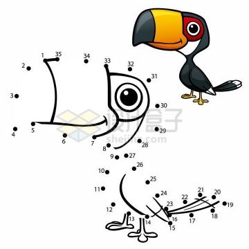 儿童绘画游戏画一只巨嘴鸟png图片免抠素材
