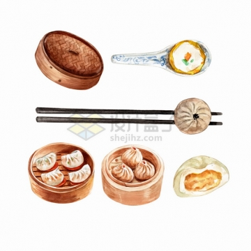 蛋挞蒸饺虾饺小笼包等粤式早茶美味早餐点心早点美食水彩插画png图片素材