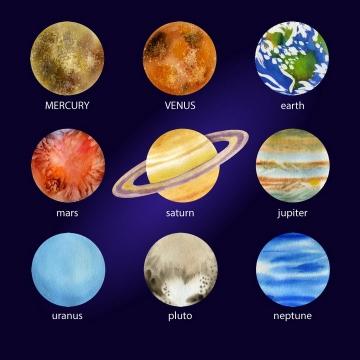肌理插画太阳系九大行星天文科普图片免抠素材