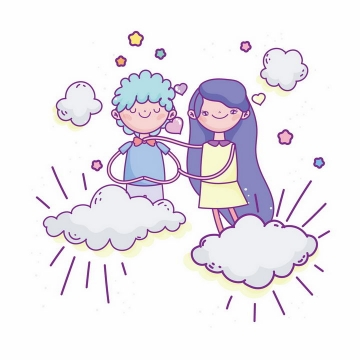 手绘插画站在云端的情侣情人节png图片免抠素材