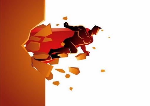插画风格冲破壁垒的披着红披风的漫画超人png图片免抠素材