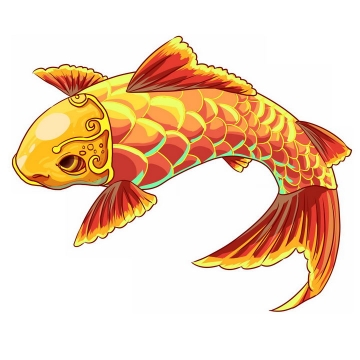 金色中国风鲤鱼锦鲤png图片免抠素材