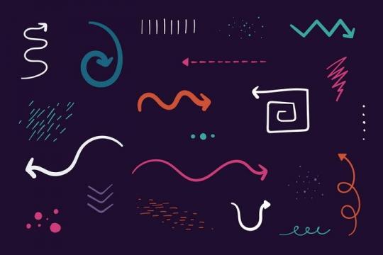 彩色手绘涂鸦风格线条箭头和装饰图案图片免抠素材