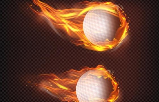 2款飞行中燃烧着火焰的高尔夫球png图片免抠矢量素材