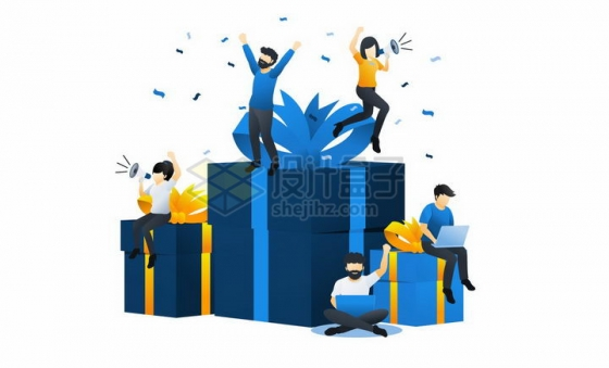 蓝色扁平插画风格在礼物上高兴得大叫的年轻人png图片免抠矢量素材