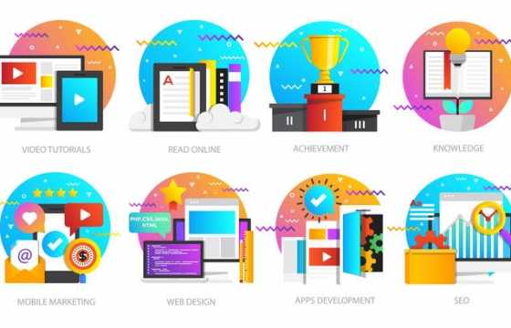 八款波普风格互联网研究类插画配图素材合集