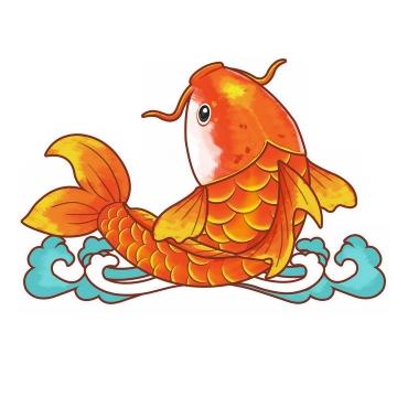 蓝色海水图案上的红色鲤鱼锦鲤png图片免抠素材