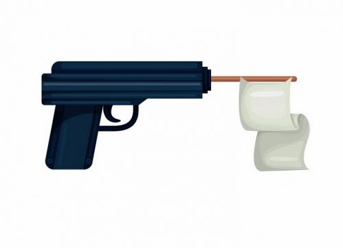 枪管中插着白旗象征世界和平的手枪png图片免抠素材