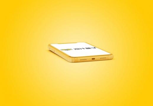 黄色苹果iPhone 11 Pro手机底部屏幕显示样机PSD图片模板