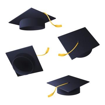 4款不同角度的导师帽博士帽学士帽硕士帽毕业帽子图片免抠素材
